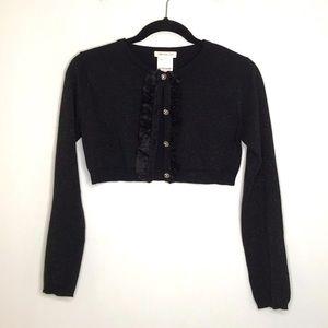 3/$25 Girls Metallic Black Crop Cardigan Sweater